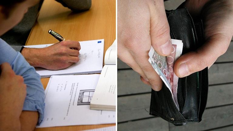 Läxhjälp, plånbok med pengar. Foto: TT