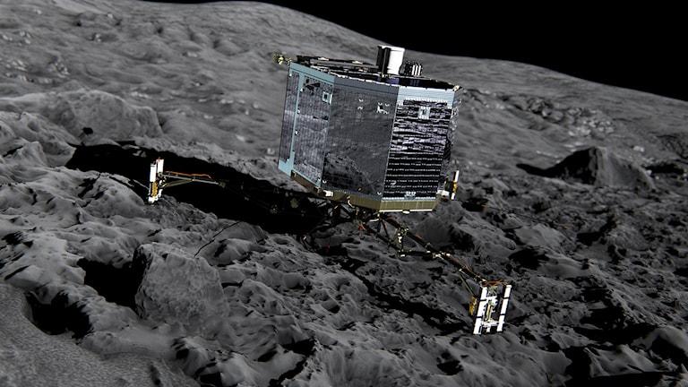 Klockan 17.00 landar förhoppningsvis Philae problemfritt på kometen. Bild: ESA / TT.