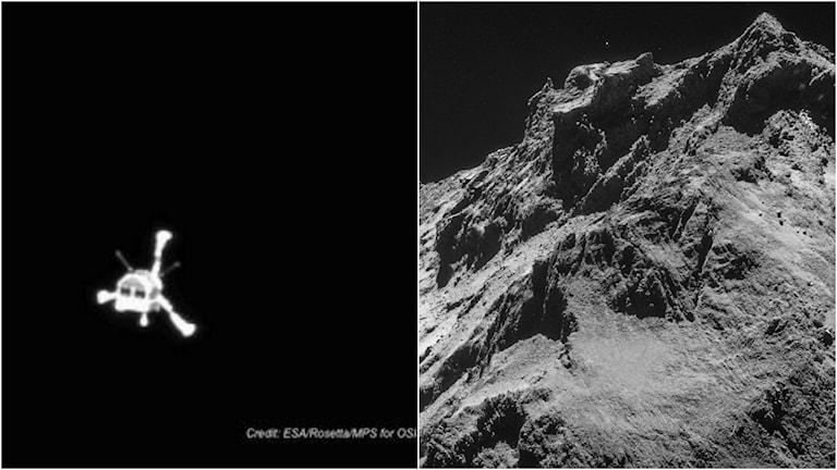 Kometlandaren Philae som en vit trebent spindel mot svart bakgrund.