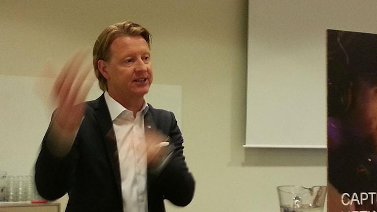 Ericssons vd Hans Vestberg på kapitalmarknadsdagen. Foto: Anders Jelmin/Sveriges Radio