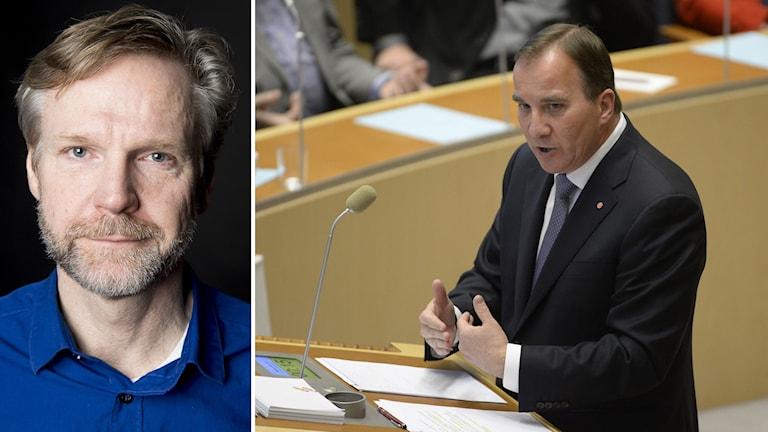 Tomas Ramberg. Stefan Löfven i riksdagen. Foto: Jessica Gow/TT samt Sveriges Radio.
