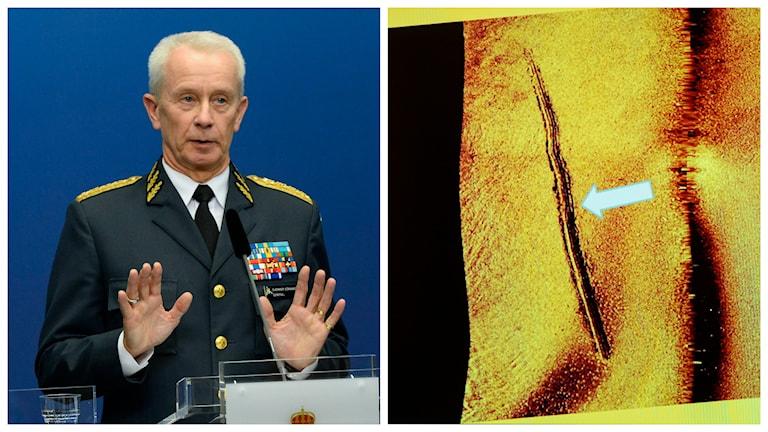 ÖB Sverker Göranson under presskonferensen och bilden som visar bottenspår efter en mindre ubåt i skärgården. Foto: TT.