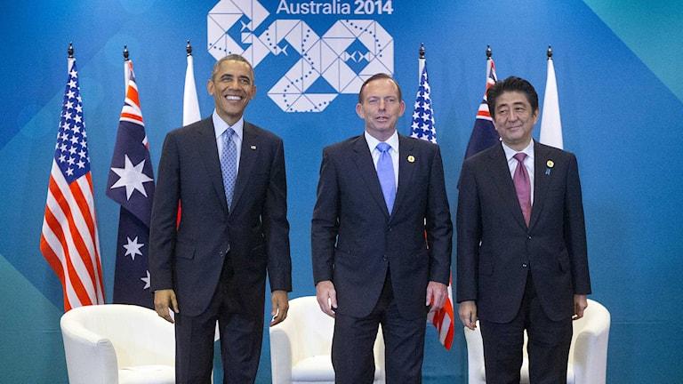 Usa:s president Barack Obama, Australiens premiärminister Tony Abbot och Shinzo Abe, Japans premiärminister. Foto: Pablo Martinez Monsivais