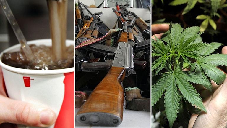 Läsk, vapen och marijuana. Foto: TT.
