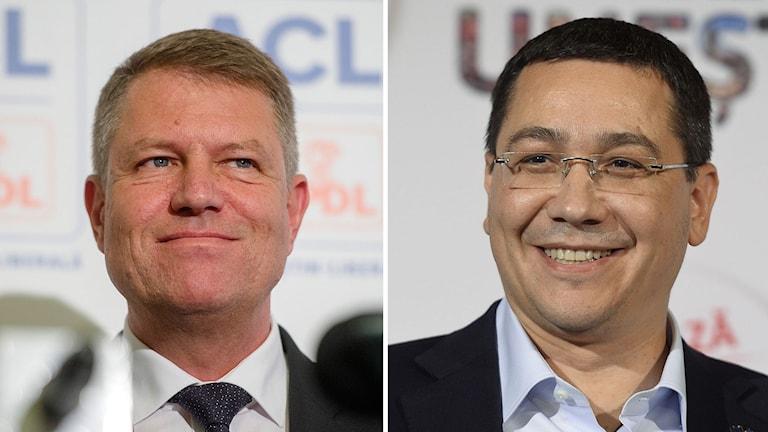 Klaus Iohannis och Victor Ponta är de två presidentkandidaterna. Foto: Octav Ganea/Andreea Alexandru/TT.