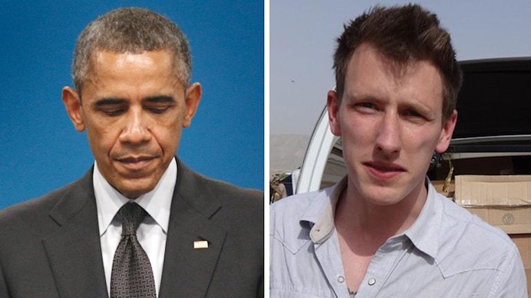 USA:s president, Barack Obama, och den mördade amerikanske hjälparbetaren Peter Kassig. Foto: TT