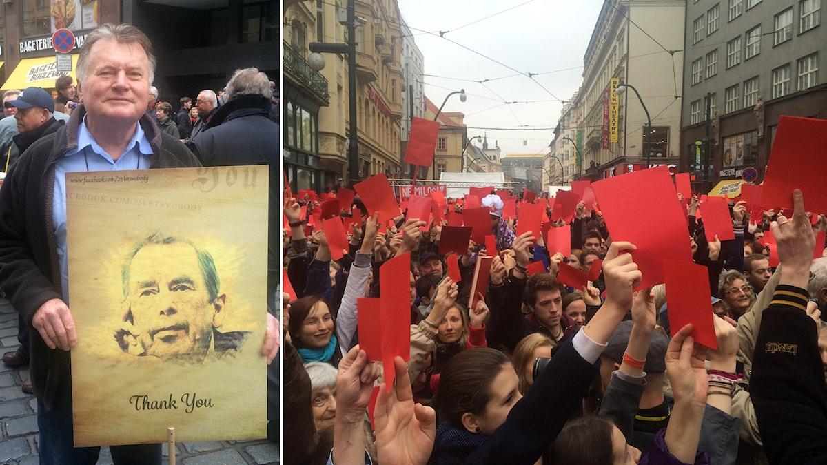 En demonstrant i Prag med ett hyllningsplakat för Vaclav Havel och Tusentals demonstranter i centrala Prag protesterar mot president Zeman. De tycker inte han arbetar i Sammetsrevolutionens anda.