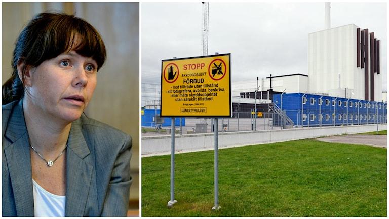 Åsa Romson (MP) och Forsmarks kärnkraftverk med en förbudsskylt i förgrunden.