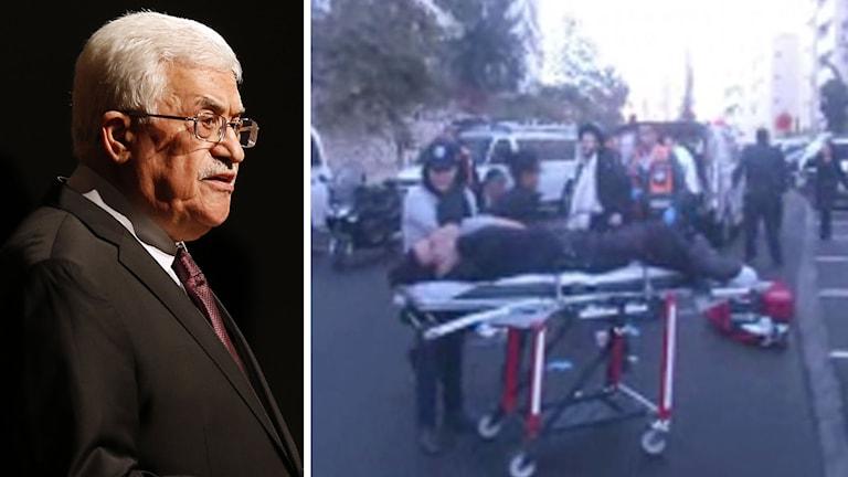 Delad bild: Palestinske presidenten Mahmoud Abbas och bild från attacken mot synagoga. Foto: Jason DeCrowd/AP samt APTN.