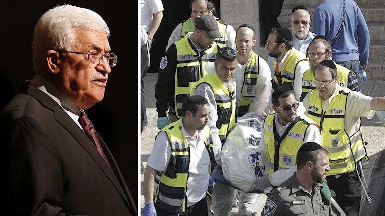 Delad bild: Palestinske presidenten Mahmoud Abbas och kropp bärs ut efter attacken. Foto: Jason DeCrowd/AP samt Ahmad Gharabli/AP.
