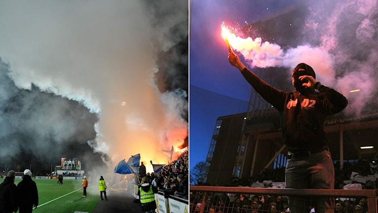 Supporter med bengalisk eld på allsvenskt Stockholmsderby. Bengalisk eld tänd i publiken inför match mellan Brommapojkarna och Malmö. Foto: TT.