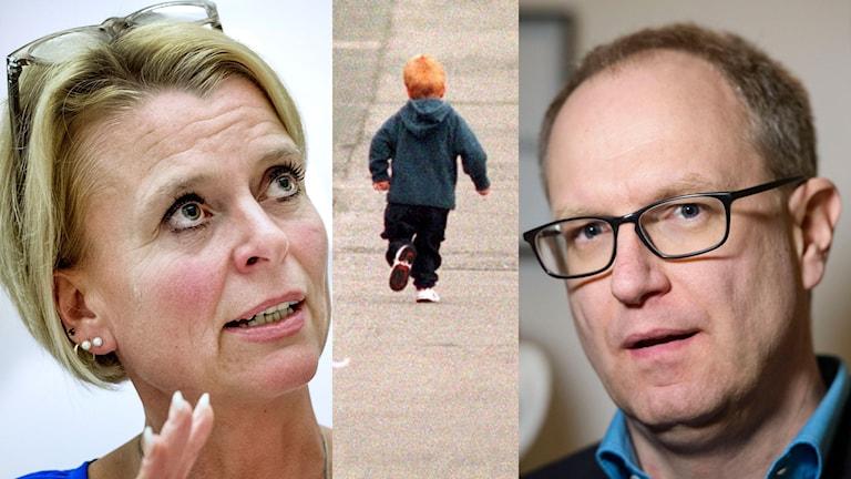 Barn, äldre- och jämställdhetsminister Åsa Regnér till vänster och Barnombudsmannen Fredrik Malmberg till höger. I mitten ett barn. Foto: AP, Tomas Oneborg och Bertil Enevåg Ericson/TT