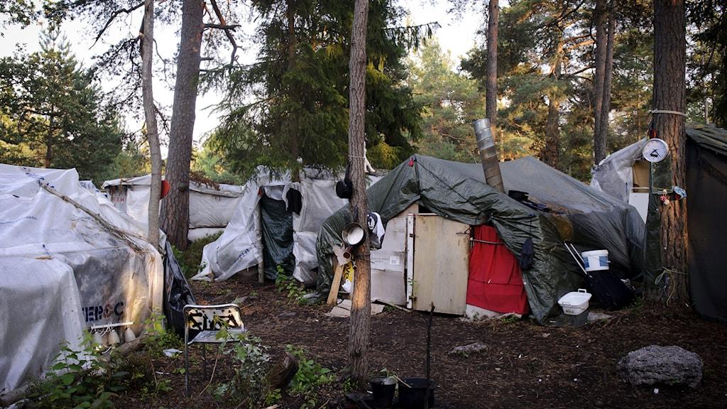 Läger i Högdalen där EU-migranter bor. Foto: Annika af Klercker/TT.
