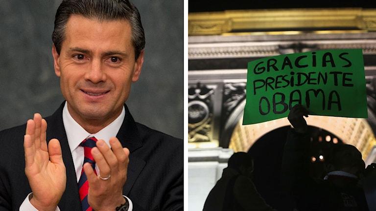 """Mexikos president Enrique Peña Nieto applåderar. En person håller upp en skylt med texten """"Tack president Obama"""" på spanska. Foto: Rebecca Blackwell/John Moore/TT. Montage: Sveriges Radio."""