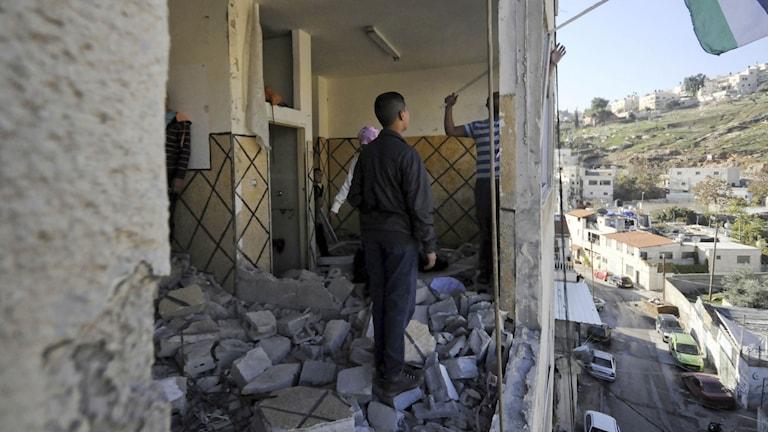 Palestinskt hem som förstörts. Foto: Mahmoud Illean/TT.