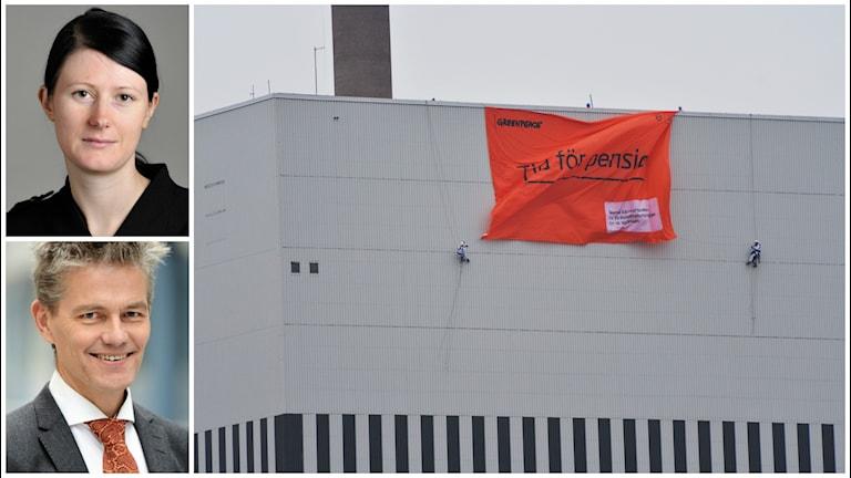 """Oskarshamns kärnkraftverk utsatt för Greenpeaces """"Dags för pension""""-kampanj."""