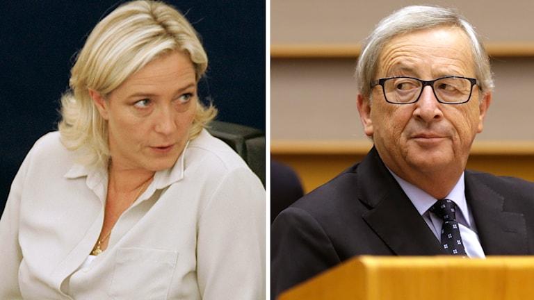 Franska Nationella Frontens partiledare, Marine Le Pen, och Jean-Claude Juncker. Foto: TT