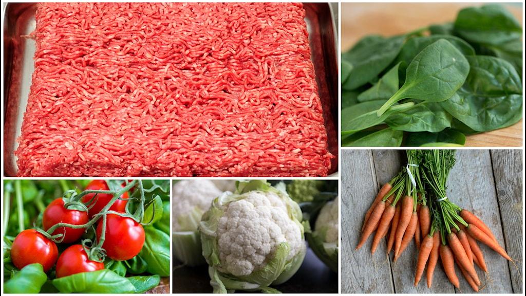 Bildcollage med köttfärs, tomater, blomkål, morötter och spenat.