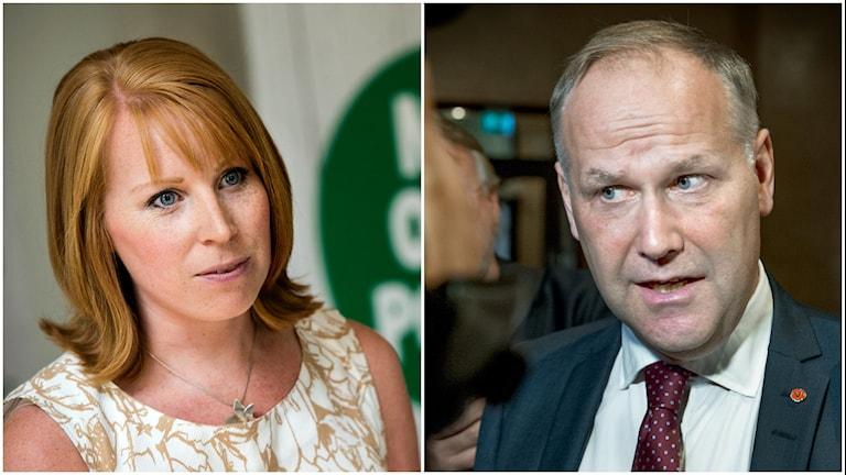 Centerledaren Annie Lööf och Vänsterpartiets Jonas Sjöstedt.