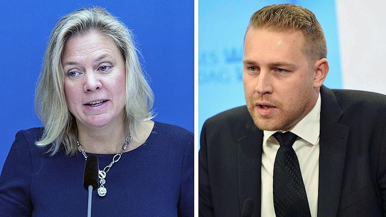 Finansminister Magdalena Andersson (S) och tillförordnad partiledare Mattias Karlsson (SD). Foto: TT.