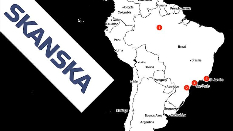 Svartvit karta över Brasilien med röda punkter för Skanskan projekt.
