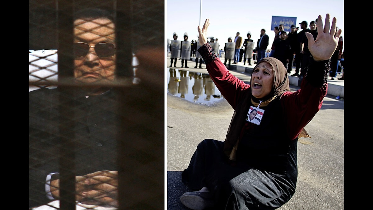 Hosni Mubarak, Egyptens före detta president, bredvid en av dennes anhängare. Foto: TT