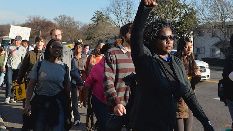 Medborgarrättsaktivister samlade i Ferguson. Foto: Michael B. Thomas/TT.