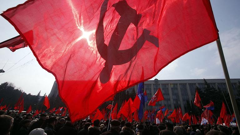 Kommunistiska partiet i Moldavien håller samling. Foto: John McConnico/AP.