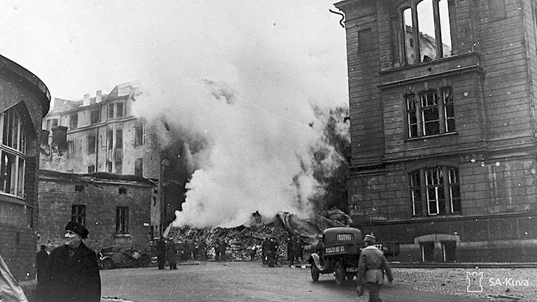 Helsingfors bombas under finska vinterkriget. Foto: Finska försvarsmaktens bildarkiv/SA-kuva