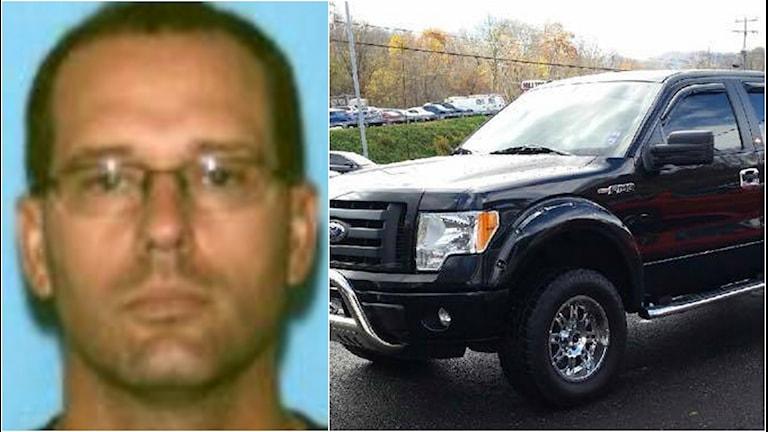 Bild på en kortklippt man med glasögon och en svart pickup.