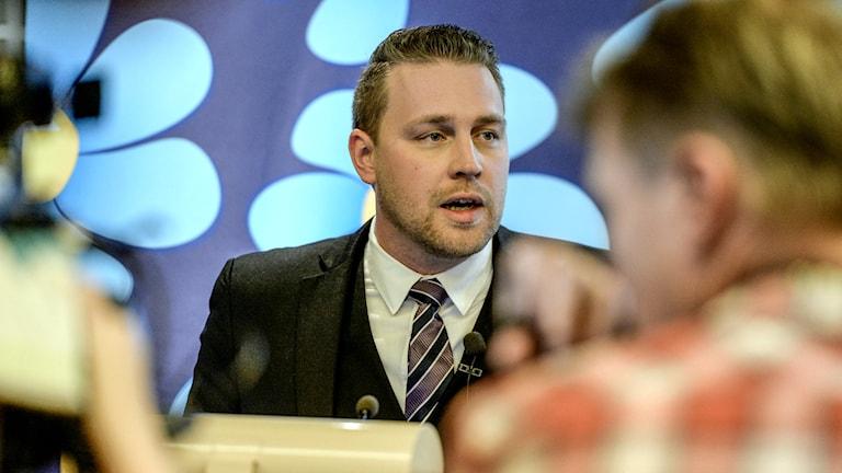 SD:s tillförordnade partiledare Mattias Karlsson. Foto: TT