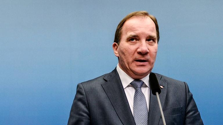 Statsminister Stefan Löfven under tisdagens presskonferens