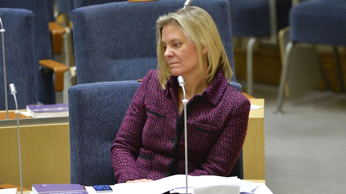 Finansminister Magdalena Andersson (S) vid onsdagens debatt om budgeten i Riksdagen. Foto: Henrik Montgomery / TT