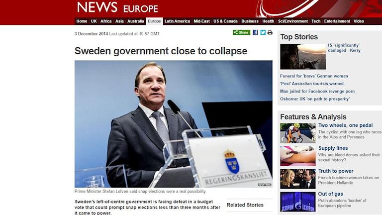Skärmdump från BBC.