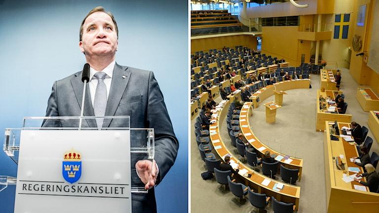 Stefan Löfven, statsminister och partiledare för Socialdemokraterna, Sveriges riksdag. Foto: TT