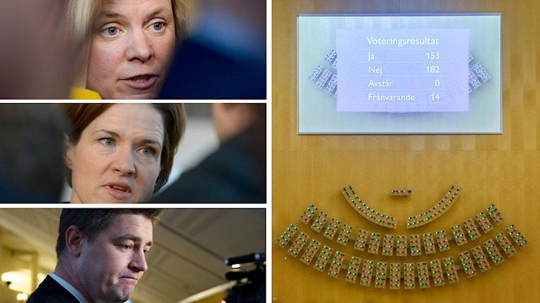 Budgeten röstas ner och det blir extraval nästa år, Magdalena Andersson (S), Anna Kinberg Batra (M) och Oscar Sjöstedt (SD). Foto: TT