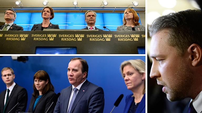 Alliansen, regeringen och Sverigedemokraterna står inför ett extraval nästa år. Foto: TT