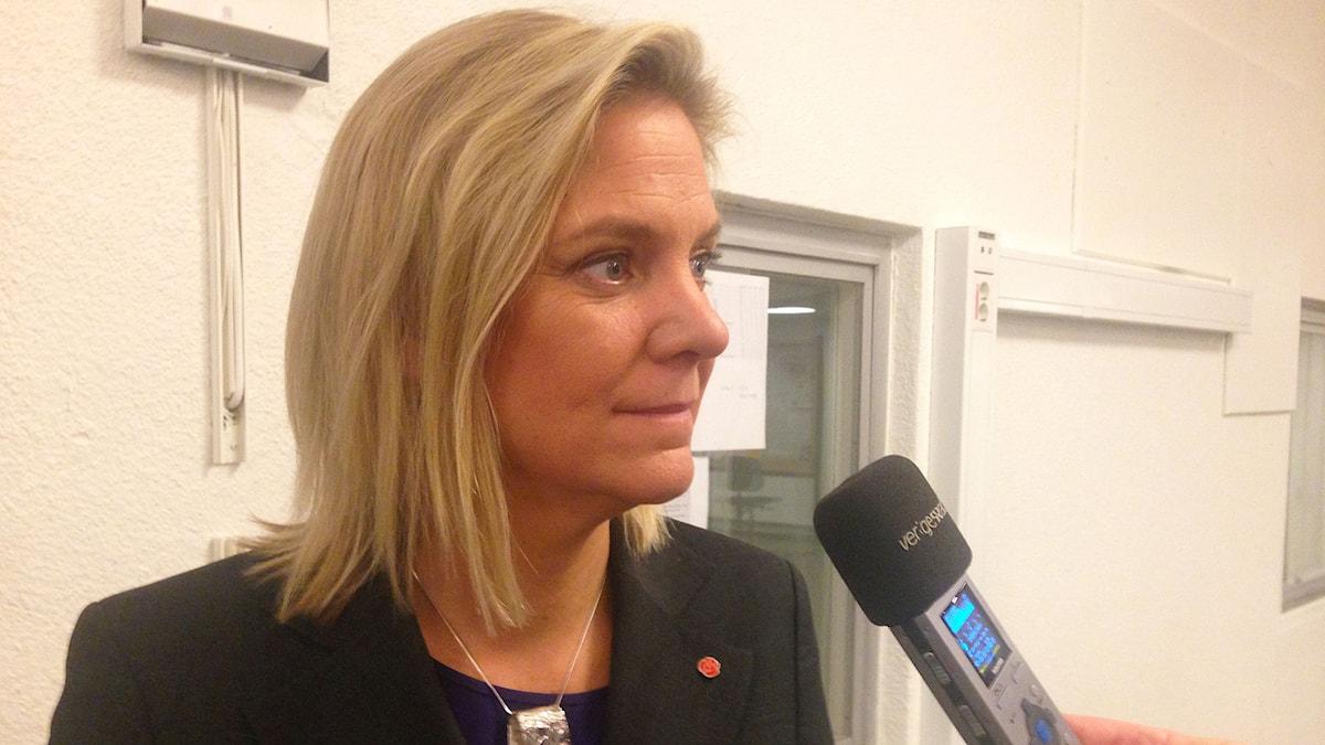 Magdalena Andersson (S) i P1-morgon. Foto: Jenny Ringström /SR