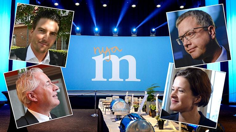 Lokala moderatpolitikerna Patric Åberg, från Östra Göinge i Skåne, och Bo Frank, från Växjö, ger sin syn på hur Moderaterna bör ta sig an flyktingfrågan. Foto: TT