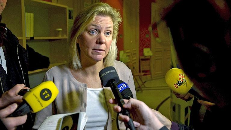 Finansminister Magdalena Andersson (S) pratar med journalister efter EU-nämnden i riksdagen. Foto: Janerik Henriksson / TT.