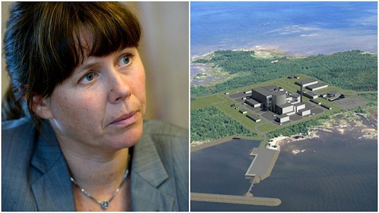 Åsa Romson och en 3D-modell av nya kärnkraftverket i Pyhäjoki.