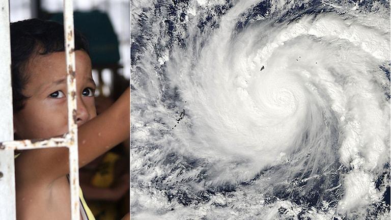 Pojke i Tacloban som evakuerats i väntan på monstertyfoen Hagupit. Foto: TT. Sveriges Radio/Montage.
