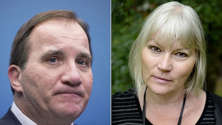 Statsminister Stefan Löfven. Journalisten och författaren Anna-Lena Lodenius. Foto: TT. Montage: Sveriges Radio.