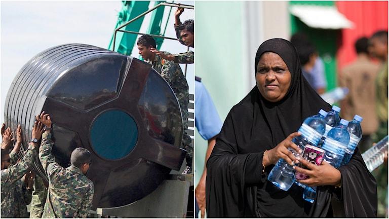 Militärer lastar av vattentankar medan en kvinna går med blåa petflaskor. Foto: TT