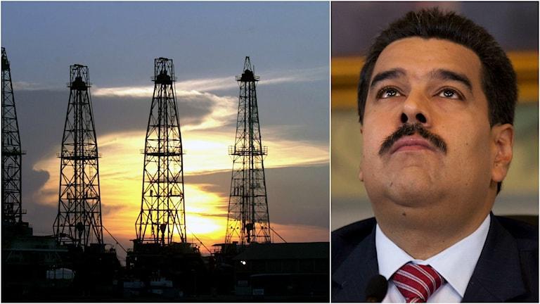 Ett oljefält i Venezuela och president Nicolas Maduro.