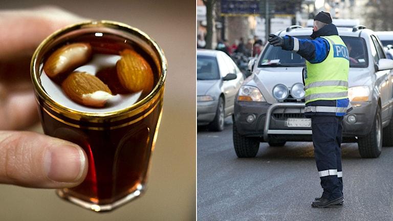 Glögg i glöggglas. Polis som stoppar bil för kontroll. Foto: TT. Montage: Sveriges Radio.