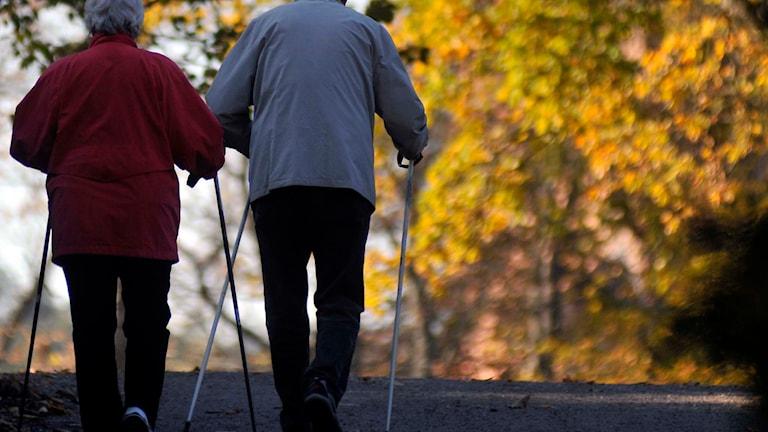 Ett åldre par promenerar med stavar. Foto: Hasse Holmberg/TT.