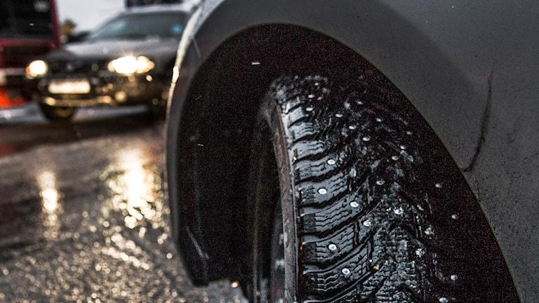 Bil med dubbade däck. Foto: Tomas Oneborg/TT.