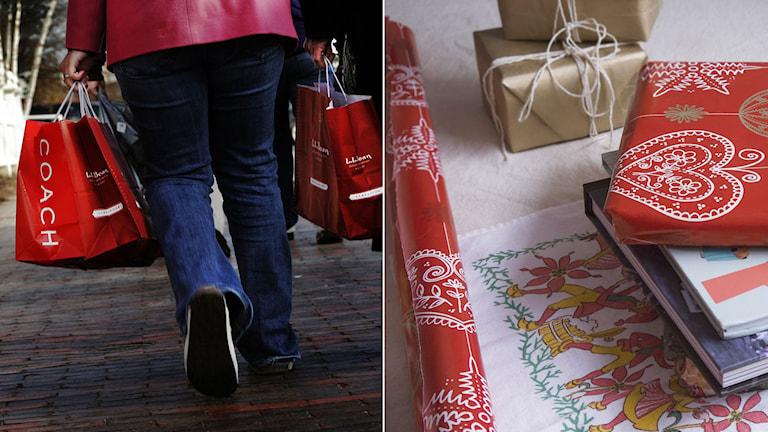 Person som går på gata med julkassar. Julklappar för inslagning på bord. Foto och Montage: Sveriges Radio.