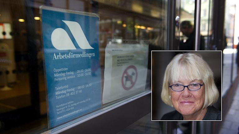 Arbetsförmedlingen på Tunnelgatan i Stockholm. Inklippt: Agneta Dreber, utredare. Foto: Jessica Gow och Fredrik Sandberg/TT